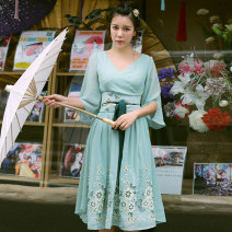 Dress Summer 2017 Mint Green S,M,L Mid length dress singleton  elbow sleeve Sweet V-neck High waist Solid color Socket Big swing bishop sleeve Others Type A Embroidery, three-dimensional decoration, bandage, zipper other