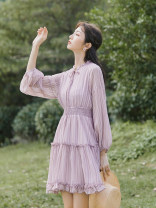 Dress Summer 2021 Purple, green S,M,L Short skirt singleton  three quarter sleeve commute V-neck Elastic waist Solid color Socket A-line skirt bishop sleeve Others 18-24 years old Type A Retro Bow tie 81% (inclusive) - 90% (inclusive) Chiffon polyester fiber