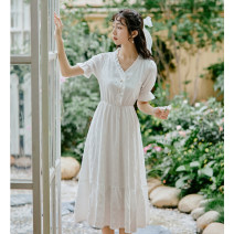 Dress Summer 2021 white S,M,L Mid length dress singleton  Short sleeve commute V-neck High waist Decor Socket A-line skirt puff sleeve Others 18-24 years old Type A Retro 81% (inclusive) - 90% (inclusive) Chiffon polyester fiber