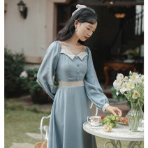 Dress Spring 2021 Red, blue S,M,L Mid length dress singleton  Long sleeves commute square neck High waist Solid color Socket A-line skirt routine Others 18-24 years old Type A 81% (inclusive) - 90% (inclusive) Chiffon polyester fiber