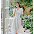 Dress Summer 2021 white S,M,L Mid length dress other Short sleeve commute Doll Collar Elastic waist Decor Socket A-line skirt pagoda sleeve Others 18-24 years old Type A Stitching, bowknot, lace up 71% (inclusive) - 80% (inclusive) brocade cotton