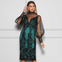Dress / evening wear Daily, date, party, wedding, performance, adult ceremony, company annual meeting XS,S,M,L green sexy Middle-skirt Elastic waist Summer 2021 Self cultivation U-neck zipper Rayon, heavy silk Long sleeves Celebrity bandage routine 91% (inclusive) - 95% (inclusive)