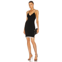 Dress / evening wear Daily, date, party, wedding, performance, adult ceremony, company annual meeting XS,S,M,L black sexy Middle-skirt Elastic waist Summer 2021 Self cultivation Sling type Deep V style Rayon, heavy silk Sleeveless Celebrity bandage routine 91% (inclusive) - 95% (inclusive)