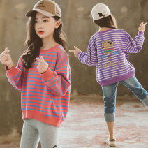 Sweater / sweater Other / other female 110cm,120cm,130cm,140cm,150cm,160cm,170cm spring and autumn nothing Korean version Socket routine There are models in the real shooting cotton stripe Cotton 95% polyurethane elastic fiber (spandex) 5% Class B