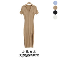 Dress Spring 2021 Khaki, blue, white, black S, M longuette singleton  Short sleeve commute V-neck High waist Solid color Socket One pace skirt routine 25-29 years old Type H Simplicity Splicing 81% (inclusive) - 90% (inclusive) knitting polyester fiber