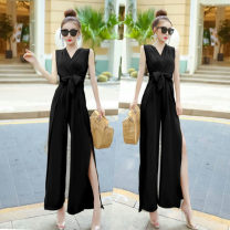 Casual pants Black, khaki, pink S,M,L Summer 2021 trousers Wide leg pants High waist commute routine 25-29 years old 96% and above polyester fiber Korean version zipper polyester fiber