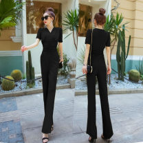 Casual pants Black, green, pink S,M,L,XL Summer 2021 trousers Straight pants High waist commute routine 25-29 years old 96% and above other Korean version fold polyester fiber