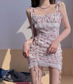 Dress Summer 2021 Floral skirt S,M,L Short skirt singleton  Sleeveless commute One word collar High waist Broken flowers Socket A-line skirt camisole 18-24 years old Type A Korean version Pleats, lace, stitching, lace 30% and below other other