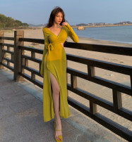 Dress Spring 2021 yellow Average size Mid length dress singleton  Long sleeves commute V-neck High waist Solid color A-line skirt routine 18-24 years old Type A Korean version Hollow out, bandage 30% and below other other