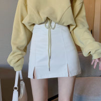 skirt Autumn 2020 Average size, m, s White single piece, black single piece, yellow single piece, white single piece Short skirt commute High waist A-line skirt Solid color Type A 18-24 years old 30% and below other other Split Korean version