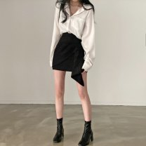 skirt Spring 2021 S. M, average size Shirt piece, skirt piece Short skirt commute High waist A-line skirt Solid color Type A 18-24 years old 30% and below other other Asymmetry Korean version