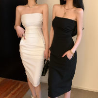 Dress Summer 2021 Black dress, white dress S, M Mid length dress singleton  Sleeveless commute One word collar High waist Solid color zipper A-line skirt Breast wrapping 18-24 years old Type A Korean version Pocket, zipper 30% and below other other