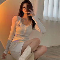 Dress Spring 2021 White, black Average size Short skirt Fake two pieces Long sleeves commute square neck High waist letter Socket A-line skirt routine 18-24 years old Type A Korean version Button 30% and below other other