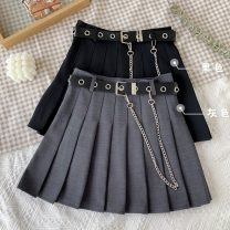 skirt Summer 2020 S,M,L,XL Gray, black Short skirt commute High waist Pleated skirt Solid color Type A 18-24 years old 30% and below other other fold Korean version