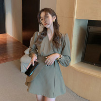 Dress Autumn 2020 Black, brown S,M,L Short skirt singleton  Long sleeves commute V-neck High waist Solid color A-line skirt shirt sleeve 18-24 years old Type A Retro fold 30% and below other other