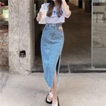 skirt Summer 2021 S. M, l, average size Letter short sleeve one piece, denim blue skirt, denim black skirt Mid length dress commute High waist A-line skirt Type A 18-24 years old 30% and below other other Pocket, button, patch Retro