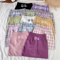 skirt Summer 2020 S,M,L Purple color bar, blue color bar, pink color bar, green grid, pink grid, blue grid, purple grid, pure black, pure white, pure purple, pure yellow, pure green, pure pink Short skirt commute High waist A-line skirt lattice Type A 18-24 years old 30% and below other other