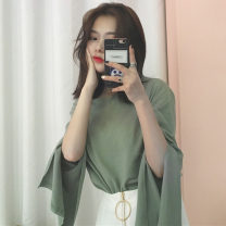 T-shirt Average size Autumn of 2019 Long sleeves Crew neck easy Regular other commute other 30% and below 18-24 years old Korean version Solid color