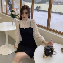 Dress Winter 2020 Apricot shirt piece, suspender skirt piece S. M, average size Short skirt singleton  Sleeveless commute One word collar High waist Solid color Socket A-line skirt camisole 18-24 years old Type A Retro 30% and below other other