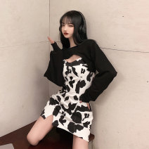 Dress Autumn 2020 S,M,L Short skirt singleton  Sleeveless commute Crew neck High waist Zebra pattern Socket A-line skirt camisole 18-24 years old Type A Korean version printing 30% and below other other