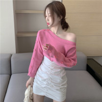 Wool knitwear Autumn 2020 S. M, average size Rose pink sweater piece, leather skirt piece Long sleeves singleton  Socket other 30% and below Regular routine commute easy One word collar routine Solid color Socket Korean version 18-24 years old Button