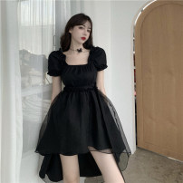 Dress Summer 2020 black S,M,L Short skirt singleton  Short sleeve commute square neck High waist Solid color Irregular skirt puff sleeve 18-24 years old Type A Retro Fold, strap 30% and below other other