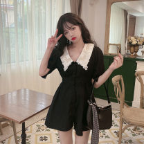 Dress Summer 2021 black S, M Short skirt singleton  elbow sleeve commute Doll Collar High waist Socket A-line skirt puff sleeve 18-24 years old Type A Retro fold 30% and below other other