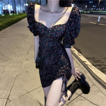 Dress Summer 2020 Foreign style floral skirt S, M Short skirt singleton  elbow sleeve commute V-neck High waist Broken flowers A-line skirt puff sleeve 18-24 years old Type A Retro Pleats, bandages, prints 30% and below other other