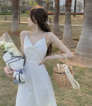 Dress Summer 2021 white S,M,L Mid length dress singleton  Sleeveless commute V-neck High waist Solid color A-line skirt camisole 18-24 years old Type A Retro 30% and below other other