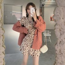 Dress Spring 2021 Dress piece, orange coat piece S. M, l, average size Short skirt singleton  Long sleeves commute square neck High waist Broken flowers Ruffle Skirt pagoda sleeve 18-24 years old Type A Retro Fold, print 30% and below other other