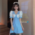 Dress Summer 2020 blue S,M,L Short skirt singleton  elbow sleeve commute High waist other A-line skirt puff sleeve 18-24 years old Type A Retro Pleats, buttons 30% and below other other