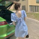 Dress Summer 2021 Short skirt singleton  Short sleeve commute square neck Solid color High waist Condom 18-24 years old A-line skirt puff sleeve 30% and below other Type A Retro Open back, fold, bandage, nail bead other S,M