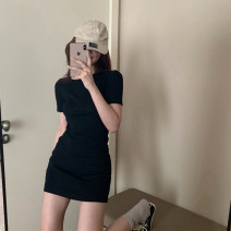 Dress Summer 2020 Black, brown Average size Short skirt singleton  Short sleeve commute Crew neck High waist Solid color A-line skirt routine 18-24 years old Type A Korean version 30% and below other other