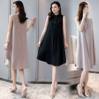 Dress Summer 2020 Light grey, black M [90-115 Jin], l [115-130 Jin], XL [130-145 Jin], 2XL [145-170 Jin] Mid length dress singleton  Sleeveless commute stand collar Loose waist Solid color Socket Big swing other Others Type A literature Three dimensional decoration 51% (inclusive) - 70% (inclusive)