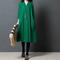 Dress Autumn 2020 Red, green, yellow M [100-120 Jin], l [120-135 Jin], XL [135-150 Jin], 2XL [150-170 Jin] Mid length dress singleton  three quarter sleeve commute V-neck Loose waist Solid color Socket A-line skirt routine Others Type A Korean version pocket 51% (inclusive) - 70% (inclusive) other