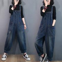 Jeans Autumn 2020 blue M [95-115 kg], l [115-135 kg], XL [135-155 Jin], 2XL [155-175 Jin] trousers High waist rompers routine washing Cotton denim Dark color 51% (inclusive) - 70% (inclusive)