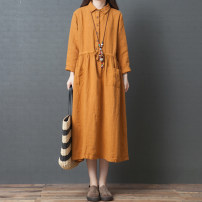Dress Autumn 2020 Orange, green M [95-120 kg], l [120-135 kg], XL [135-150 Jin], 2XL [150-170 Jin] Mid length dress singleton  Long sleeves commute Polo collar Loose waist Solid color Socket Big swing routine Others Type A literature 51% (inclusive) - 70% (inclusive) other hemp