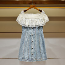 Dress Summer 2021 blue S,M,L,XL Short skirt singleton  Short sleeve commute One word collar High waist Solid color Socket Princess Dress Flying sleeve Others Type A Ivy lady Crochet, openwork, lace 31% (inclusive) - 50% (inclusive) other other