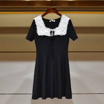 Dress Summer 2021 black S,M,L,XL Short skirt singleton  Short sleeve commute Crew neck High waist Solid color Socket Princess Dress routine Others Type A Ivy lady Bows, lace 31% (inclusive) - 50% (inclusive) other other