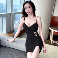 Dress Spring 2021 Red, green, black S,M,L,XL Short skirt singleton  Sleeveless commute V-neck High waist Solid color Socket One pace skirt routine camisole 18-24 years old Type H Korean version backless brocade polyester fiber