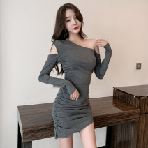 Dress Spring 2021 Gray, black S,M,L,XL Short skirt singleton  Long sleeves commute Slant collar middle-waisted Solid color Socket Irregular skirt routine Oblique shoulder Type X Other / other Korean version Holes, pleats, open backs, folds, lacing, asymmetry 91% (inclusive) - 95% (inclusive) cotton
