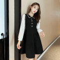 Dress Spring 2021 black S,M,L,XL,2XL Middle-skirt singleton  Long sleeves commute Polo collar High waist Solid color zipper A-line skirt puff sleeve Others Type A Korean version Button, button other