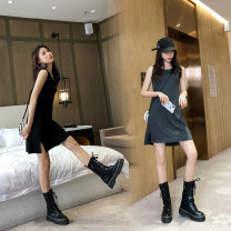 Dress Summer 2020 Dark grey, black XS,S,M,L,XL,2XL,3XL,4XL Mid length dress singleton  Sleeveless commute Crew neck Loose waist Solid color Socket A-line skirt Others 25-29 years old Type A Korean version 51% (inclusive) - 70% (inclusive) other modal