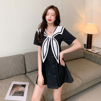 Dress Summer 2021 White, black S,M,L,XL Short skirt Short sleeve Sweet Admiral High waist double-breasted Type A Lace up, panel, button