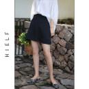 skirt Spring 2020 S,M,L Black, taro purple Short skirt commute High waist A-line skirt Solid color Type A Chiffon polyester fiber zipper Simplicity