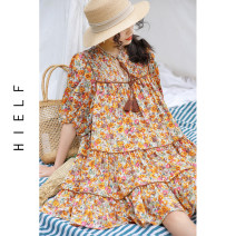 Dress Spring 2021 Decor S,M,L Mid length dress singleton  Short sleeve commute Crew neck High waist Broken flowers Socket Cake skirt bishop sleeve Lace, ruffle, lace More than 95% Chiffon