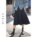 skirt Spring 2021 S,M,L navy blue Mid length dress commute High waist A-line skirt Solid color Type A More than 95% Denim cotton Pocket, open line decoration Simplicity