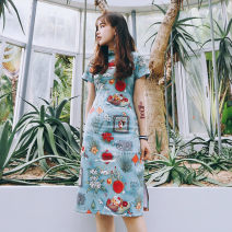 Dress Summer of 2019 Short sleeve medium length red heart in front (in stock) XS,S,M,L,XL Mid length dress High waist 91% (inclusive) - 95% (inclusive) polyester fiber