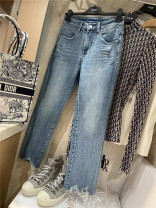 Jeans Summer 2021 Wash water blue 25,26,27,28,29,30 Ninth pants Natural waist routine light colour 96% and above