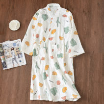 Pajamas / housewear set female Other / other M, L cotton three quarter sleeve Sweet Leisure home spring Thin money stand collar Plants and flowers Tether one-piece garment Tether More than 95% pure cotton printing longuette